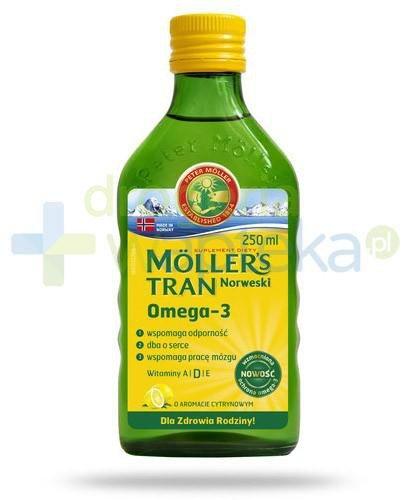 Mollers Tran Norweski Omega-3 smak cytrynowy 250 ml +  rodzinna gra Alfa i Omega [GRATIS]