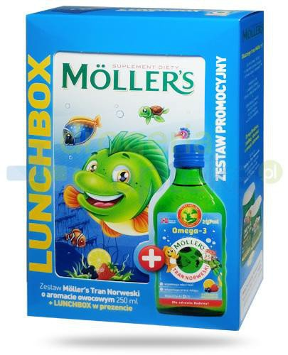 Mollers Tran Norweski Omega-3 smak owocowy 250 ml + Lunchbox [ZESTAW]  whited-out