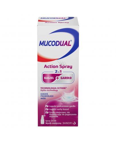 Mucodual Action Spray 2w1 na kaszel i ból gardła w formie sprayu 20 ml
