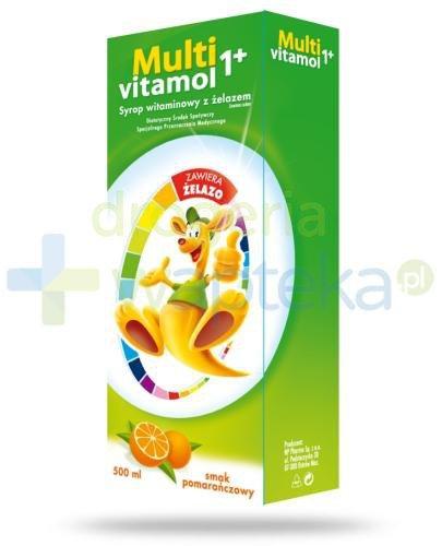 Multivitamol 1+ syrop witaminowy z żelazem dla dzieci smak pomarańczowy 500 ml