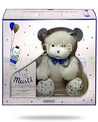Mustela Bebe Musti Blue woda pielęgnacyjna perfumowana 50 ml + maskotka  [Data ważności 31-01-2020]