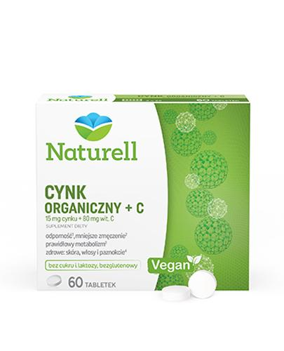 Naturell Cynk organiczny 15mg + witamina C 80mg 60 tabletek