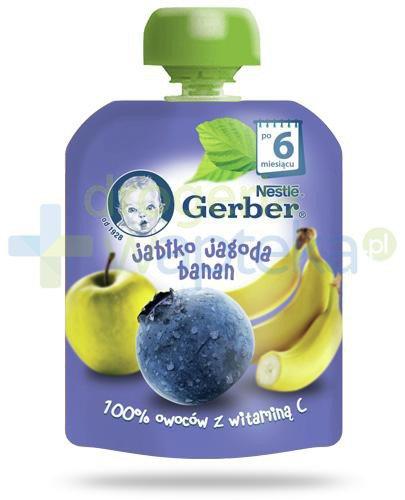 Nestlé Gerber Jabłko, jagoda, banan deserek owocowy z witaminą C dla dzieci 6m+ 90 g [K...