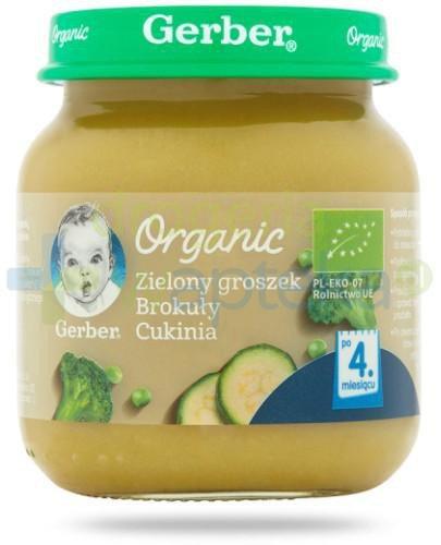 Nestlé Gerber Organic Zielony groszek brokuły cukinia po 4 miesiącu 125g