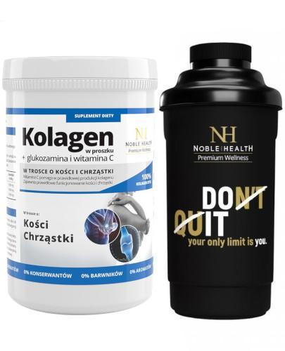 Noble Health Kolagen w proszku + glukozamina i witamina C 100 g + bidon