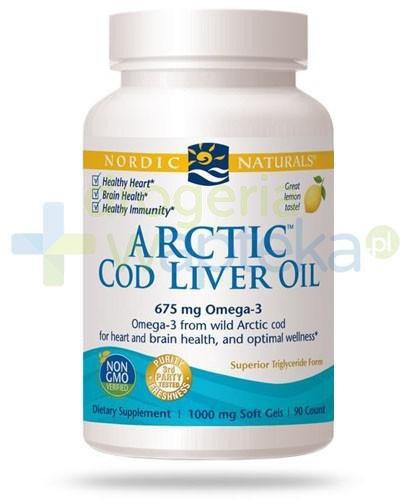 Nordic Naturals Arctic Cod Liver Oil Omega-3 675mg smak cytrynowy 90 kapsułek [DARMOWA DOSTAWA]
