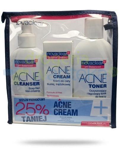 NovaClear Acne Cleanser płyn do mycia twarzy 150 ml + maska 50 g + tonik do twarzy 200 ml...  whited-out