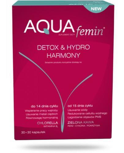 NutroPharma AQUAfemin Detox&Hydro Harmony 30+30 kapsułek + AQUAfemin detox 15 kaps. [GRATIS] [Data ważności 30-04-2019]