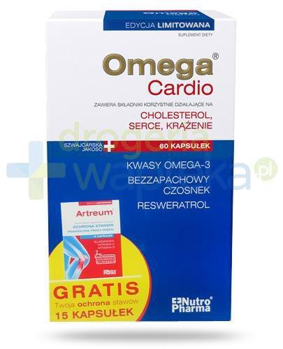 NutroPharma Omega Cardio Cholesterol, serce, krążenie 60 kapsułek + Artreum Ochrona stawów, prawidłowa praca mięśni 15 kapsułek [ZESTAW]