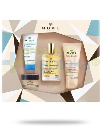Nuxe Bestsellers miodowy balsam do ust 15 g + wielofunkcyjny olejek 30 ml + krem do rąk i paznokci 30 ml + krem do skóry normalnej 30 ml [ZESTAW]