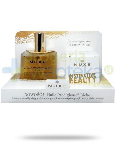 Nuxe Huile Prodigieuse Riche wielofunkcyjny odżywiający olejek do twarzy, ciała i włosów 100 ml + świeczka zpachowa 70 g [ZESTAW] + Nuxe Płatki róży woda micelarna 100 ml [GRATIS]