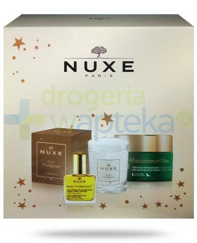 Nuxe Nuxuriance Ultra Creme Nuit krem przeciwstarzeniowy na noc 50 ml + suchy olejek 10 ml + świeczka 70 g [ZESTAW] + Nuxe Płatki róży woda micelarna 100 ml [GRATIS]