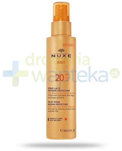 Nuxe Sun mleczko SPF20 do opalania twarzy i ciała w sprayu 150 ml