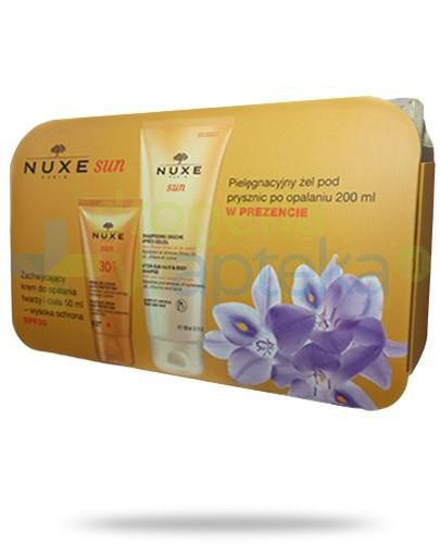 Nuxe Sun zachwycający krem SPF30 do opalania twarzy i ciała 50 ml + żel pielęgnacyjny pod prysznic po opalaniu 200 ml + kosmetyczka [ZESTAW]