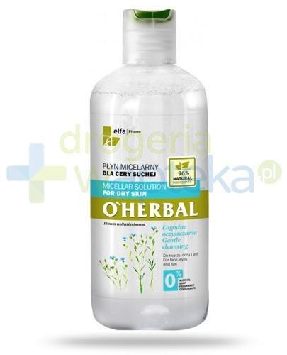 O'Herbal płyn micelarny łagodnie oczyszczający dla cery suchej z ekstraktem z lnu 250 m...  whited-out