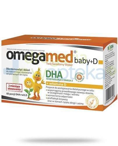 Omegamed Baby D DHA + witamina D dla niemowląt i dzieci 60 kapsułek  whited-out