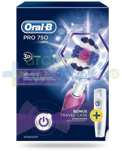 Oral-B Pro 750 3D White szczoteczka elektryczna 1 sztuka + etui [ZESTAW] + 2 końcówki CrossAction [GRATIS]