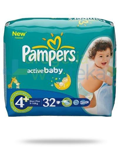 Pampers Active Baby Maxi Plus pieluchy dla dzieci 4m+ 9-16kg 32 sztuki  whited-out