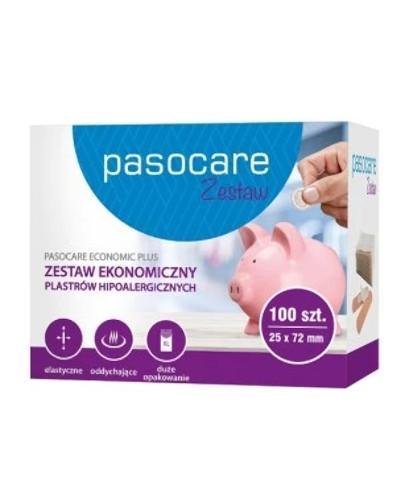 Pasocare Economic Plus zestaw ekonomiczny plastrów hipoalergicznych 25 x 72 mm 100 sztuk