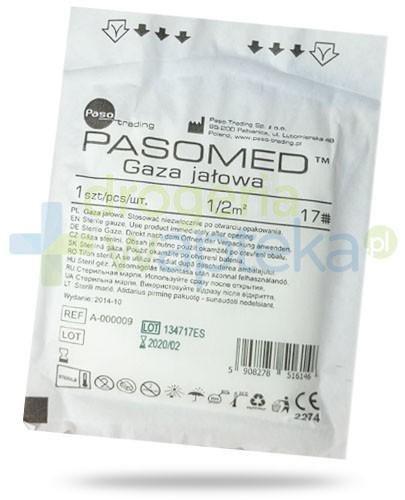 PasoMed gaza opatrunkowa jałowa 17 nitek 1/2m2 1 sztuka