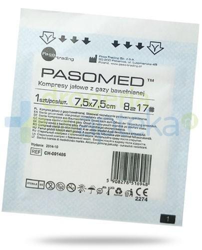 PasoMed kompresy jałowe z gazy bawełnianej 17 nitek 8 warstw 7,5x 7,5cm 1 sztuka