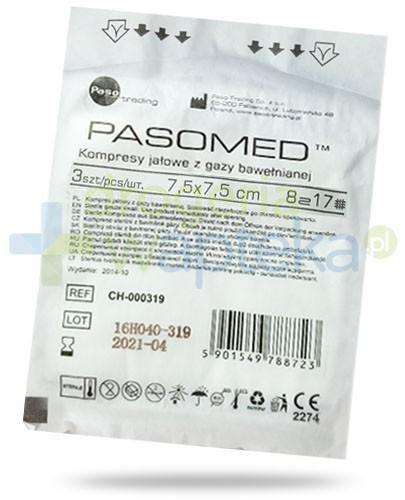 PasoMed kompresy jałowe z gazy bawełnianej 17 nitek 8 warstw 7,5x 7,5cm 3 sztuki