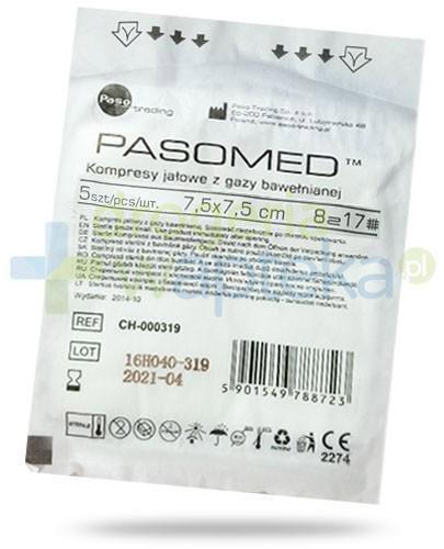 PasoMed kompresy jałowe z gazy bawełnianej 17 nitek 8 warstw 7,5x 7,5cm 5 sztuk