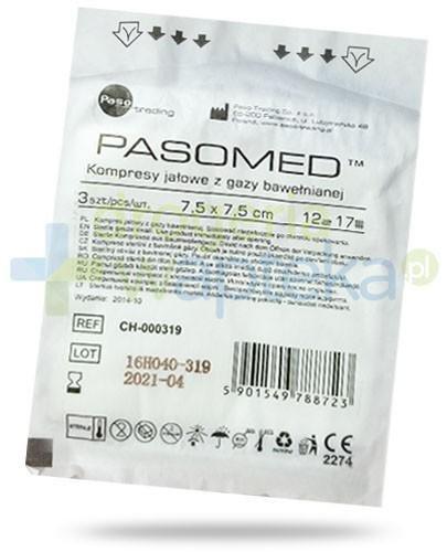 PasoMed kompresy jałowe z gazy bawełnianej 17 nitkek 12 warstw 7,5x 7,5cm 3 sztuki