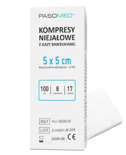 PasoMed kompresy niejałowe z gazy bawełnianej 17 nitek 8 warstw 5x 5cm 100 sztuk