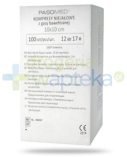 PasoMed kompresy niejałowe z gazy bawełnianej 17 nitkowe 12 warstw 10 x 10cm 100 sztuk