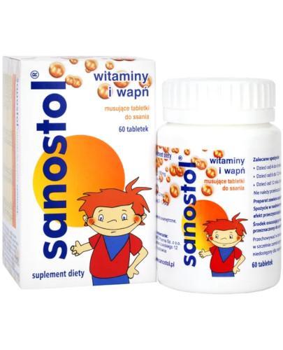 Sanostol witaminy i wapń 60 tabletek musujących do ssania