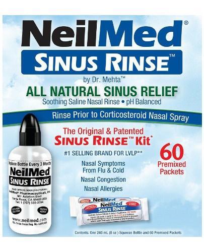 Sinus Rinse Kit zestaw podstawowy do płukania nosa butelka 240 ml + 60 saszetek [ZESTAW]