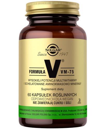 SOLGAR Formuła VM-75 (kaps. roślinne) wysokiej potencji schelatowane witaminy i minerały 60 kapsułek