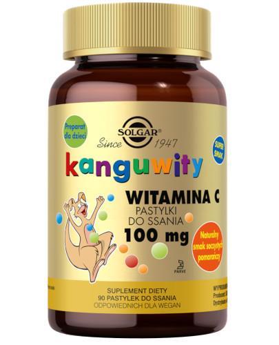 SOLGAR Kanguwity Witamina C 100 mg naturalny smak soczystych pomarańczy 90 pastylki