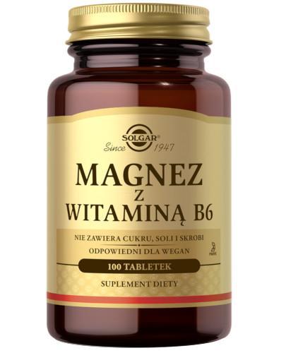 SOLGAR Magnez z witaminą B6 100 tabletek