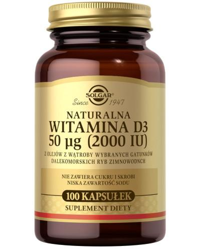 SOLGAR Naturalna witamina D3 50ug 100 kapsułek