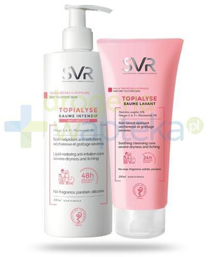 SVR Topialyse Baume Intensif balsam intensywnie regenerujący podrażnienia 400 ml + SVR Topialyse Baume Lavant odżywczy balsam do mycia skóry bardzo suchej i atopowej 200 ml [ZESTAW]