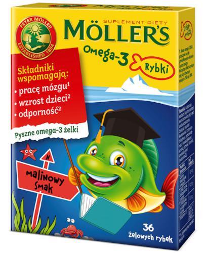 Tran Mollers Omega-3 Rybki, żelki malinowe 36 sztuk