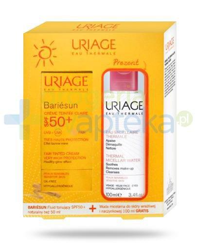 Uriage Bariesun fluid tonujący SPF50+ naturaly beż 50 ml + woda micelarna do skóry wr...  whited-out