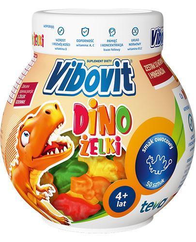 Vibovit Dinożelki zestaw 10 witamin i minerałów dla dzieci 4+ 50 sztuk