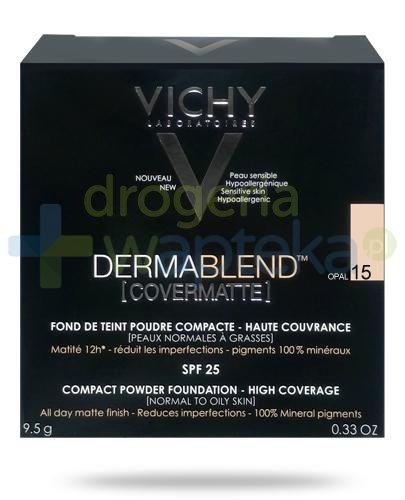 Vichy Dermablend Covermatte SPF25 puder kryjący w kompakcie 15 OPAL 9,5 g + Pędzel Kabuk...