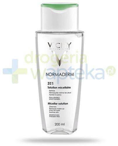 Vichy Normaderm 3w1 woda micelarna do skóry wrażliwej formuła bez spłukiwania 200 ml  whited-out