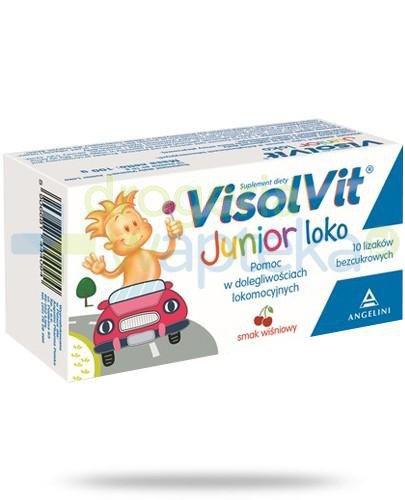 Visolvit Junior Loko lizaki bezcukrowe o smaku wiśniowym 10 sztuk  whited-out