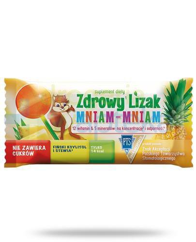 Zdrowy lizak Mniam-Mniam na koncentrację i odporność o smaku ananasowym 1 sztuka