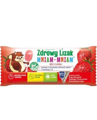 Zdrowy lizak Mniam-Mniam z witaminą C i D o smaku truskawkowym (łezka) 1 sztuka