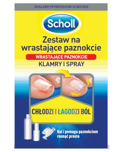 Zestaw Scholl na wrastające paznokcie ze spray'em chłodzącym i klamrami na paznokcie 1 opakowanie