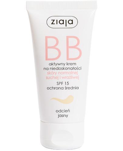 Ziaja BB aktywny krem na niedoskonałości SPF15 do skóry normalnej i wrażliwej odcień jasny 50 ml