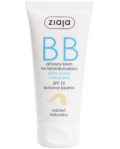 Ziaja BB aktywny krem na niedoskonałości SPF15 do skóry tłustej i mieszanej odcień naturalny 50 ml