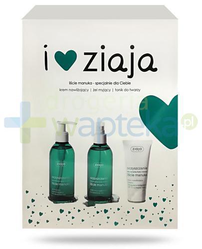 Ziaja Love You, Manuka krem nawilżający SPF10 50 ml + żel myjący normalizujący 200 ml + tonik zwężający pory 200 ml [ZESTAW]