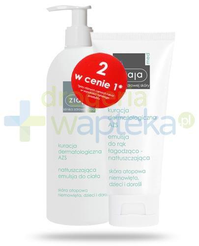 Ziaja Med Kuracja dermatologiczna AZS natłuszczająca emulsja do ciała 400 ml + emulsja do rąk łagodząco natłuszczająca 100 ml [ZESTAW]